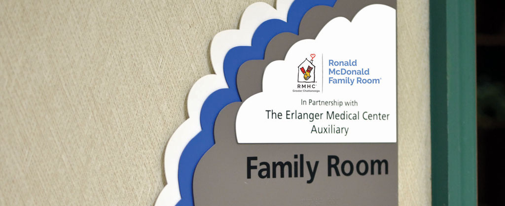 The Ronald McDonald Family Room sign.
