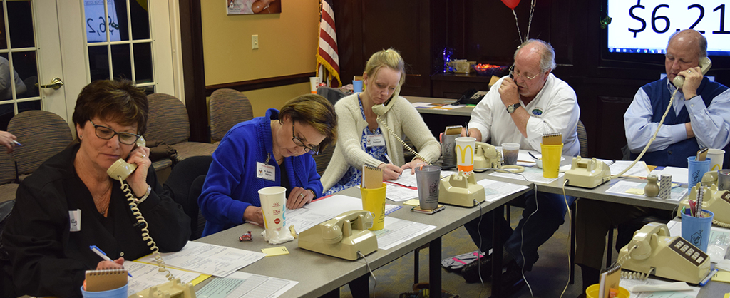 Volunteers working hard to make calls to past donors at our annual Phonathon.